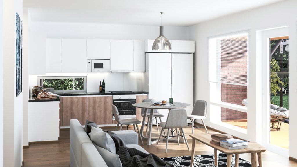 Oululaisen rakennusliike Rakennus-hankan rakentaman talon jaettu keittiö ja olohuone modernilla harmaa-valkoisella sisustuksella